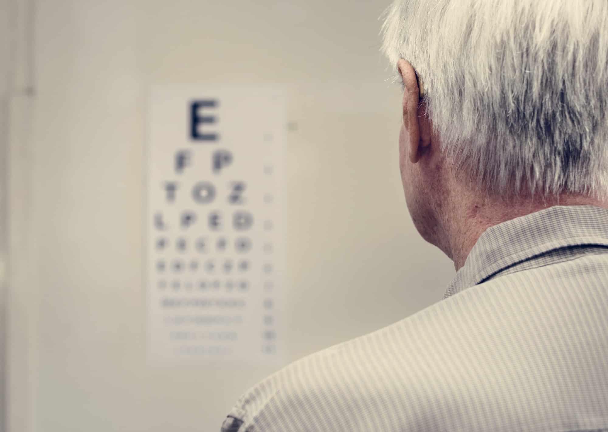 An elderly patient is having sight testing
